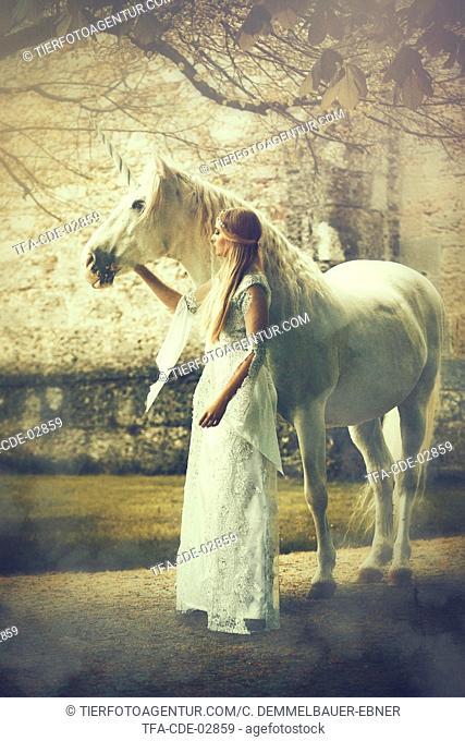 woman and unicorn