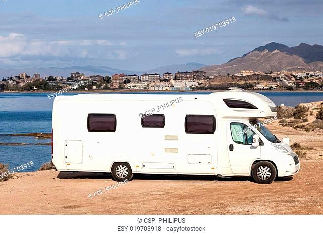 Camper at the mediterranean coast in Spain