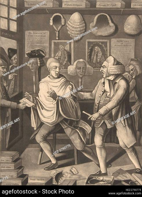 The Patriotick Barber of New York, or the Captain in the Suds, February 14, 1775. Creator: Attributed to Philip Dawe