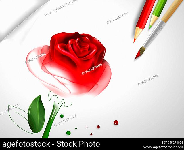 half painted rose on paper