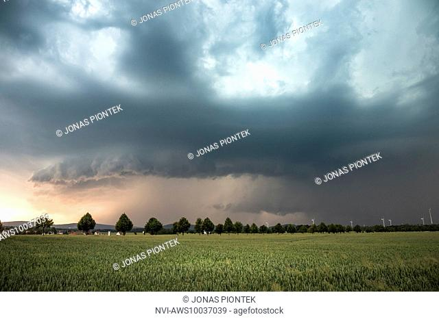 Outflow dominant HP supercell with gust front and wall cloud in the light of the setting sun near Kamenz, Saxony, Germany