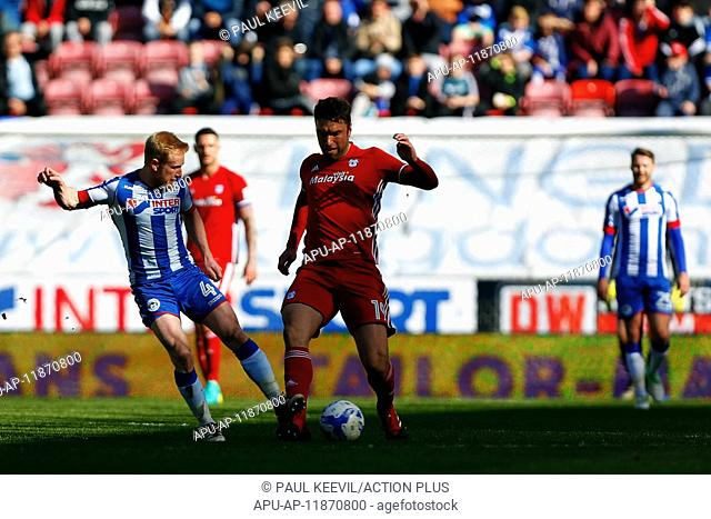 2017 Skybet Championship football Wigan v Cardiff Apr 22nd. April 22nd 2017, Wigan, Lancashire, England; Skybet Championship football Wigan versus Cardiff;...