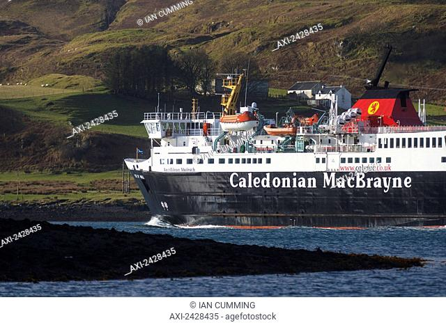 Caledonian MacBrayne ferry, going along narrow channel between mainland and Kerrera Island having just left Oban port; Oban, Argyll and Bute, Scotland