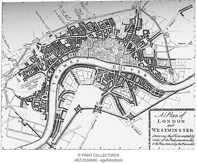 Plan of London and Westminster, 1749 (1903). Artist: Unknown
