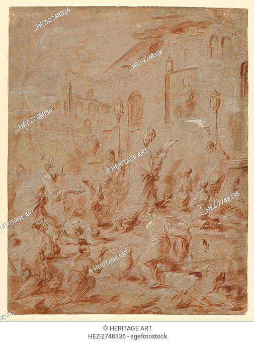 Worshippers at a Street Shrine, 1730/40. Creator: Alessandro Magnasco (Italian, 1667-1749)