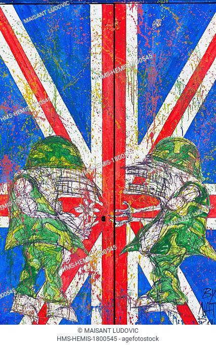 United Kingdom, London, East End, Brick Lane, inspired tag flag of the United Kingdom