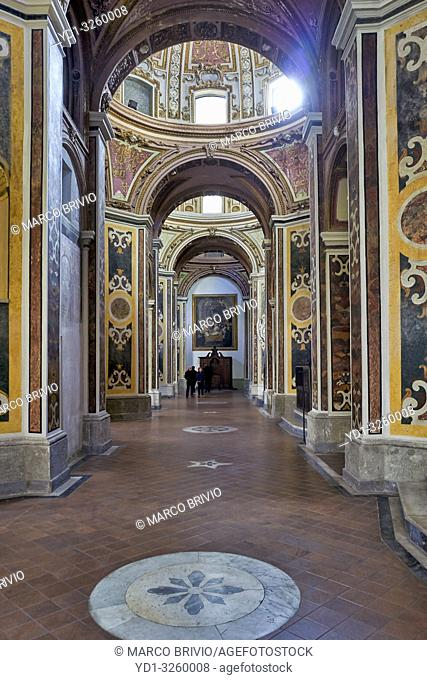 Naples Campania Italy. San Paolo Maggiore is a basilica church in Naples, southern Italy, and the burial place of Gaetano Thiene, known as Saint Cajetan