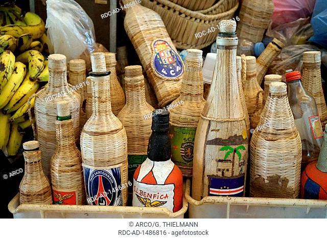 Bottles with Grog, Grogue, Mercado Municipal, Market Hall, Mindelo, Sao Vicente Island, Cape Verde, Africa