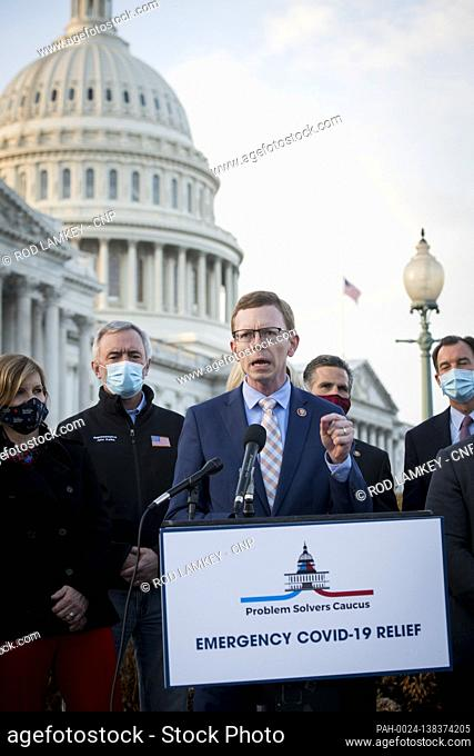 United States Representative Dusty Johnson (Republican of South Dakota) joins members of the Problem Solvers Caucus for a press conference regarding the current...