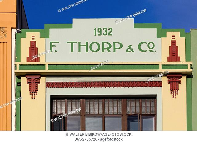 New Zealand, North Island, Hawkes Bay, Napier, art-deco architecture, F. Thorp and Co. Building