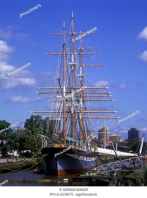 `The Polly Woodside', a restored British built three masted iron-hulled barque, centre piece of the Melbourne Maritime Museum