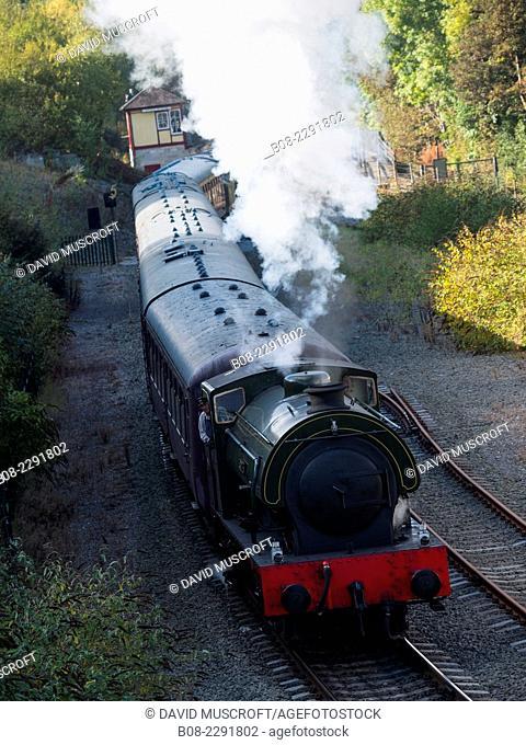 Peak Rail's lord Phil vintage steam locomotive at Matlock Riverside station, Matlock,derbyshire,UK