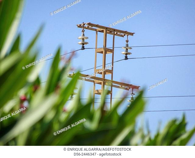 electrical tower in the field, Valencia, Spain