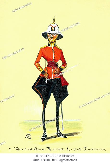 India: 2nd Queen's Own Rajput Light Infantry. Caricature style gouache painting, G.H. Brennan, 1910