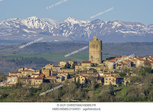 France, Puy de Dome, Montpeyroux, labelled Les Plus Beaux Villages de France (The Most Beautiful Villages of France), in the background the Massif du Sancy in...