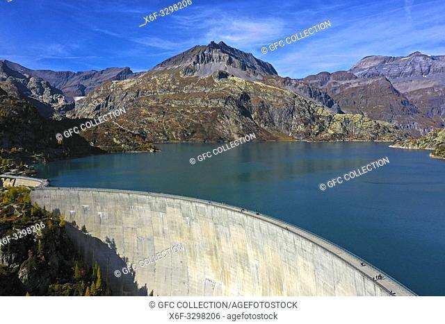 Emosson dam and water reservoir, Barrage d'Emosson, aerial shot, Finhaut, Valais, Switzerland