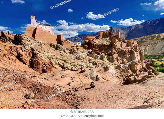 Ancient ruins at Basgo Monastery, blue sky and cloudy background, Leh ladakh landscape, Jammu and Kashmir, India