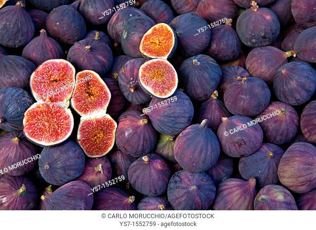 Figs sold at a street market in Paris, France, Europe