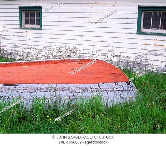 Weathered wooden boat and fishing shed, Bauline East, eastern Newfoundland, Canada