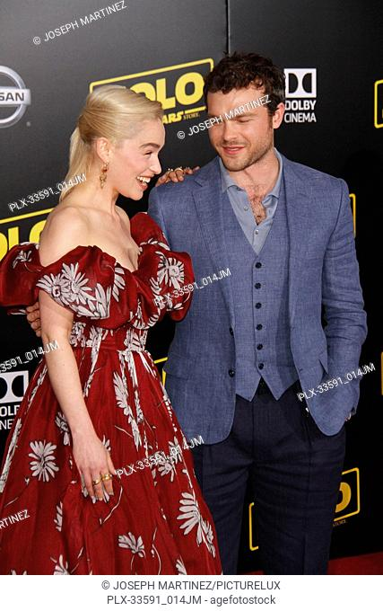 """Emilia Clarke, Alden Ehrenreich at the Premiere of Lucasfilm's """"""""Solo: A Star Wars Story"""""""" held in Hollywood, CA, May 10, 2018"""