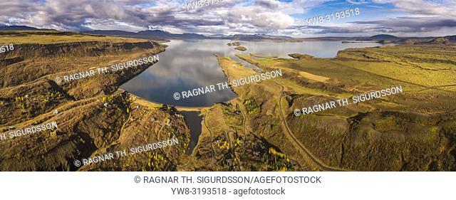 Lake Thingvellir, Thingvellir National Park, Iceland. This image is shot using a drone