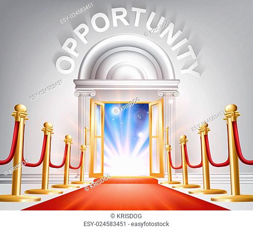 An illustration of a posh looking door with red carpet and Opportunity above it. Concept for positive change