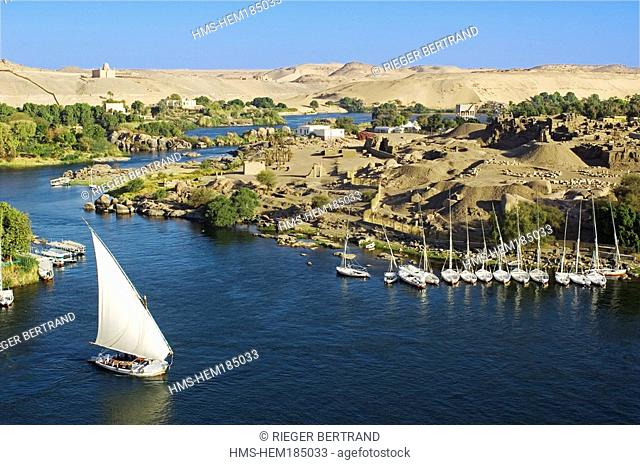 Egypt, Upper Egypt, Elephantine Island, archeological excavations site of Satis and Khnoum temples