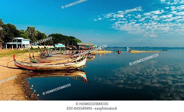 Boats near Taungthaman shore, Amarapura, Mandalay Myanmar