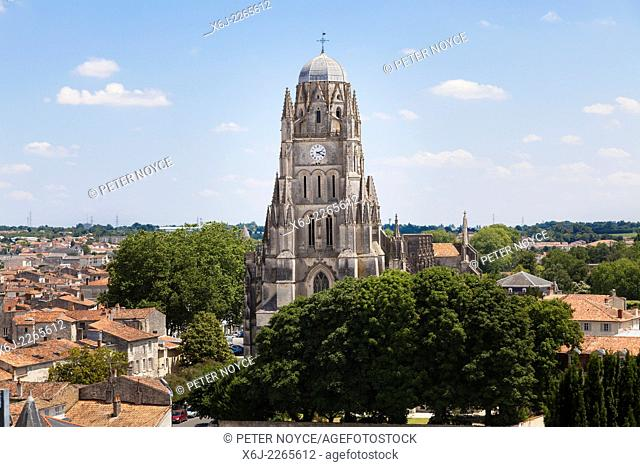 The Cathedral St Peter at Saintes seen over the roof tops