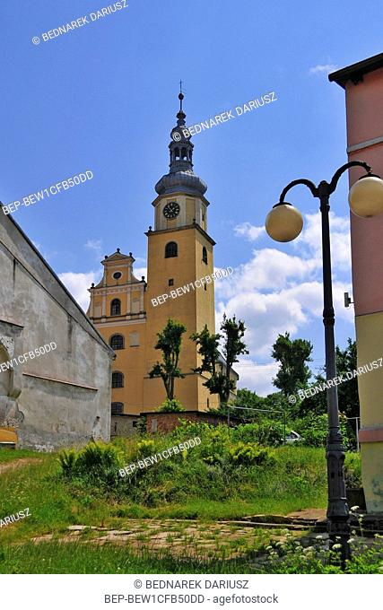 Holy Family church in village Chelmno Slaskie, Lower Silesian voivodeship, Poland. The church was build in 1680-1690