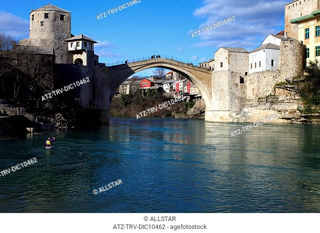 REBUILT STARI MOST OLD BRIDGE OVER NERETVA RIVER; MOSTAR, BOSNIA & HERZEGOVINA; 14/03/2010