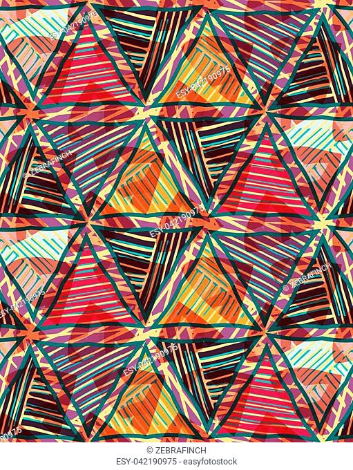 Triangles red brown striped on texture.Hand drawn with ink seamless background.Creative handmade repainting design for fabric or textile