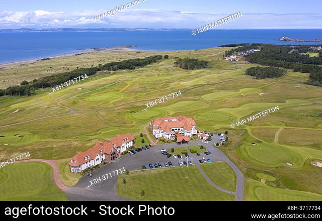 Aerial view of clubhouse at the Renaissance Club golf course near North Berwick in East Lothian, Scotland, UK