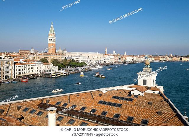 Punta della Dogana, the old Venice customs, actually a modern art museum, seen from the Patriarchal Seminary of Venice, Italy, Europe