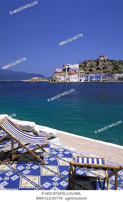 Mediteraneo Hotel, terrace, chairs Kastellorizo, Dodecanese, Greece