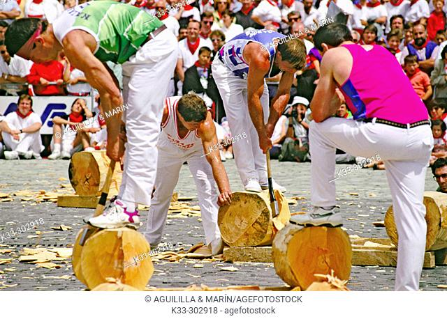 Basque rural sport. San Fermin. Pamplona. Spain