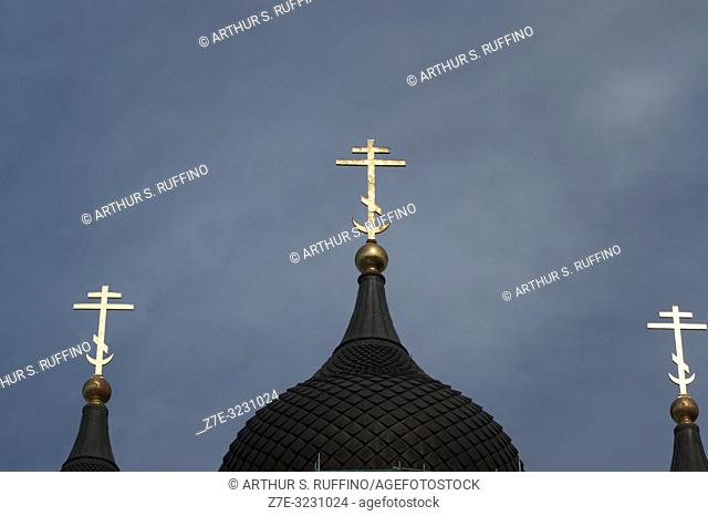 Detail of crosses atop onion domes. Alexander Nevsky Cathedral, Toompea Hill, Old Town, Tallinn, Estonia, Baltic States