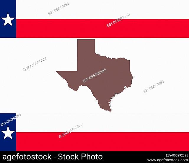 Landkarte von Texas auf Hintergrund mit Fahne - Map of Texas on background with flag