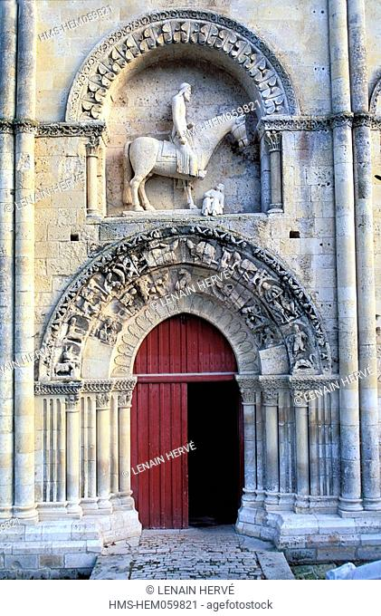 France, Deux Sevres, Melle village, Sainte Hilaire church, an equestrian statue of Constantine on top of the northern doorway