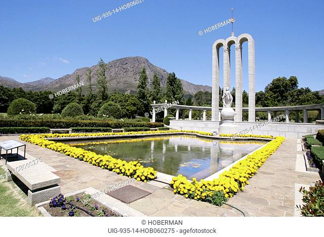 Huguenot Monument in Franschhoek wine valley, South Africa