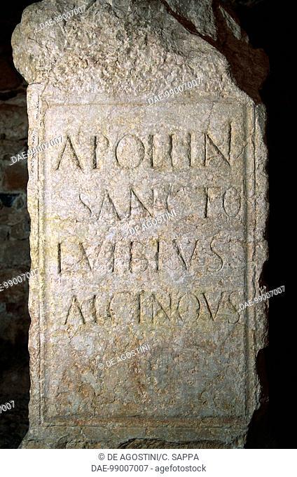 Marble inscription found in Roman baths and swimming pools, Caldes de Montbuy, Catalonia, Spain. Roman civilisation, 1st century BC