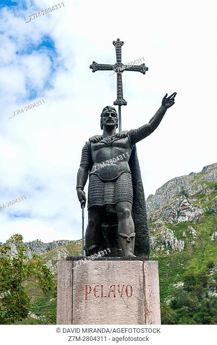 Don Pelayo Statue, Covadonga, Picos de Europa National Park, Asturias, Spain. Historical Heritage Site