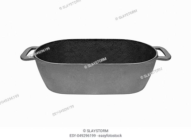 Cast iron pan. Isolated on white background