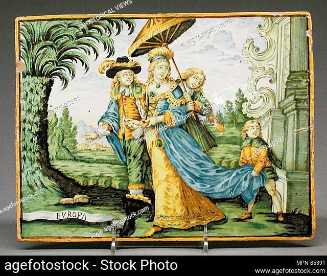Europe (part of a set). Maker: Castelli; Designer: After a design by Charles Le Brun (French, Paris 1619-1690 Paris); Engraver: Engraved or published by...