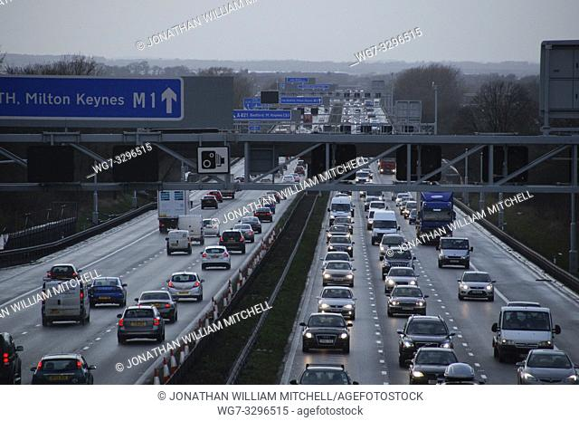 UK Near Milton Keynes -- 12 Feb 2014 -- Hazardous conditions on the busy M1 motorway near Milton Keynes England UK this afternoon as high winds from a large...