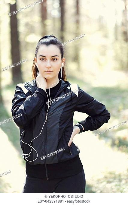 Sport outdoor. Exercise in the woods