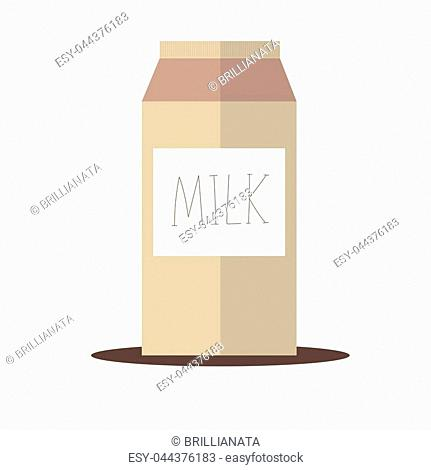 Hand drawn vector illustration with carton milk box packages. Used for poster, banner, web, t-shirt print, bag print, badges, flyer, logo design and more