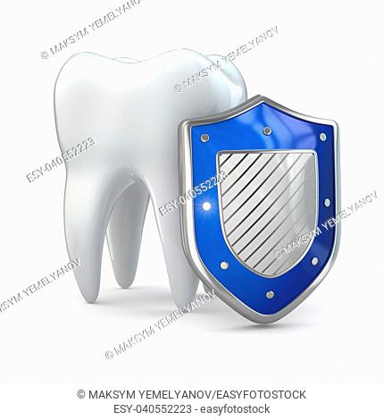 Teeth protection concept. Shield and tooth. 3d
