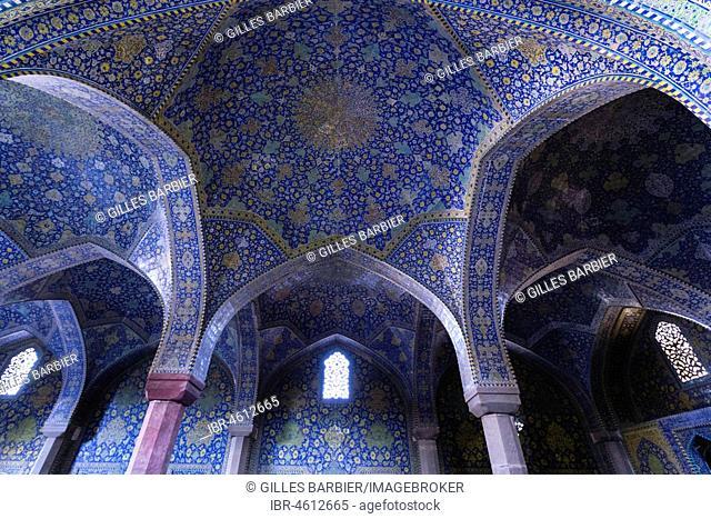 Inside Masjed-e Shah or Shah Mosque, Naqsh-e Jahan or Imam Square, Esfahan, Iran