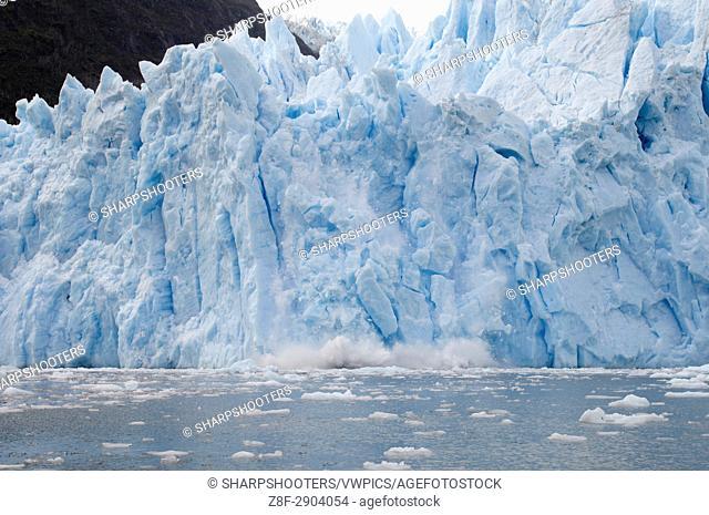 Chile, Patagonia. Tierra del Fuego, Darwin National Park, Garibaldi Glacier, Ice falling
